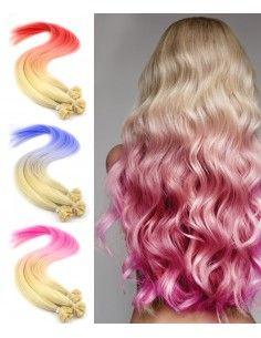 Extension de cheveux à chaud Tie and dye couleur flash
