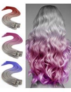 10 Tape Hair extensions de cheveux gris Tie & Dye Crazy Colors