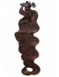 Extensions de Cheveux à Chaud ondulés Marron