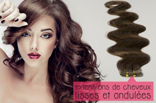extensions de cheveux adhésives ondulés