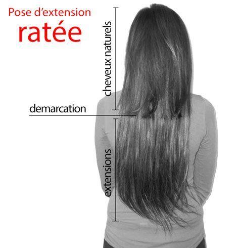 extensions de cheveux raides : pose d'extension ratée - démarcation